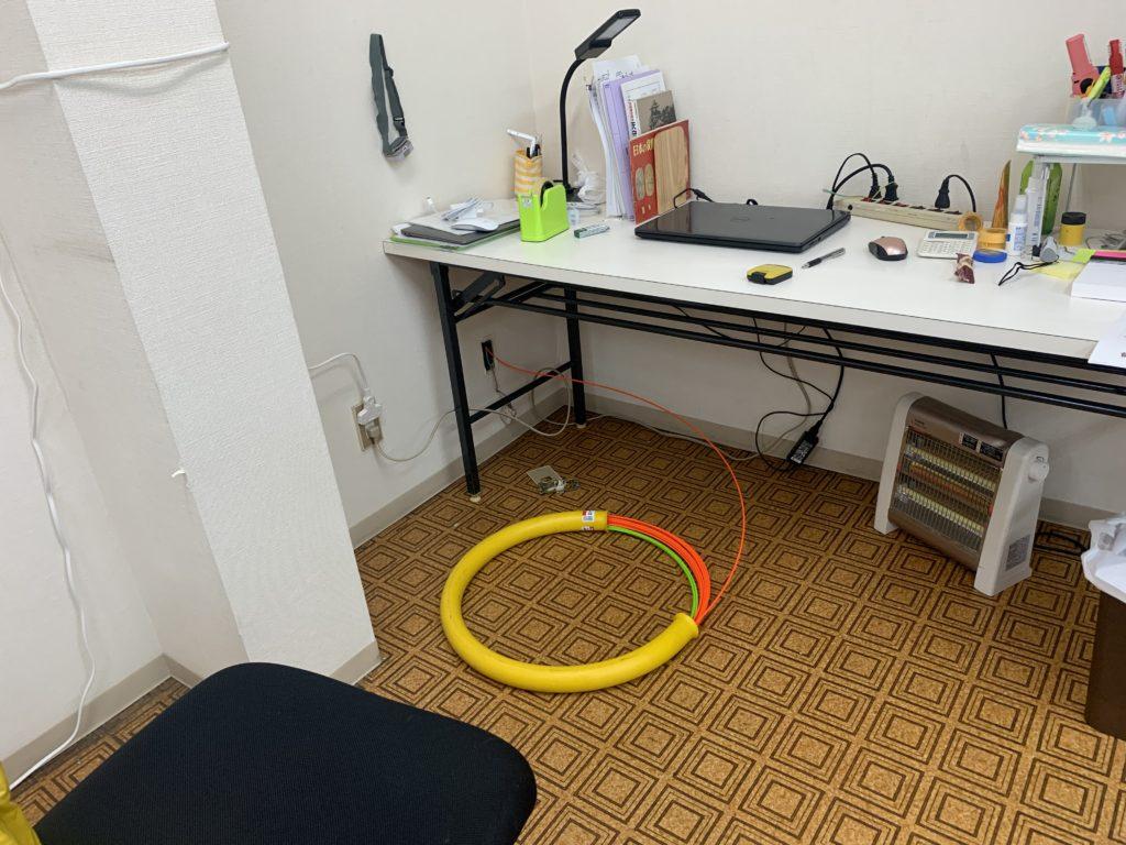 室内指定箇所へ光回線を引き込み
