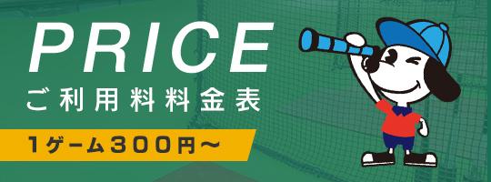 PRICE ご利用料料金表 1ゲーム300円~